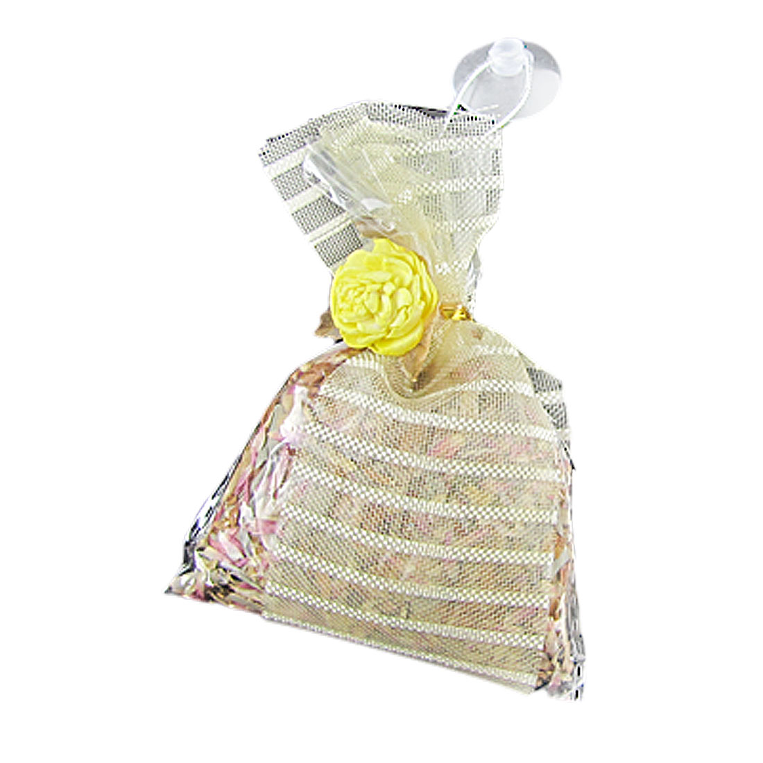 Stripe Organza Rose Smell Decor Hang Sachet with Suction Cup for Car Room