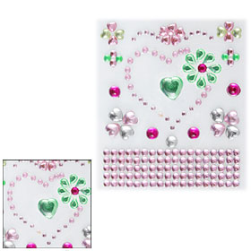 Multicolor Flower Heart Shape Phone Clear Plastic Crystal Sticker Decor