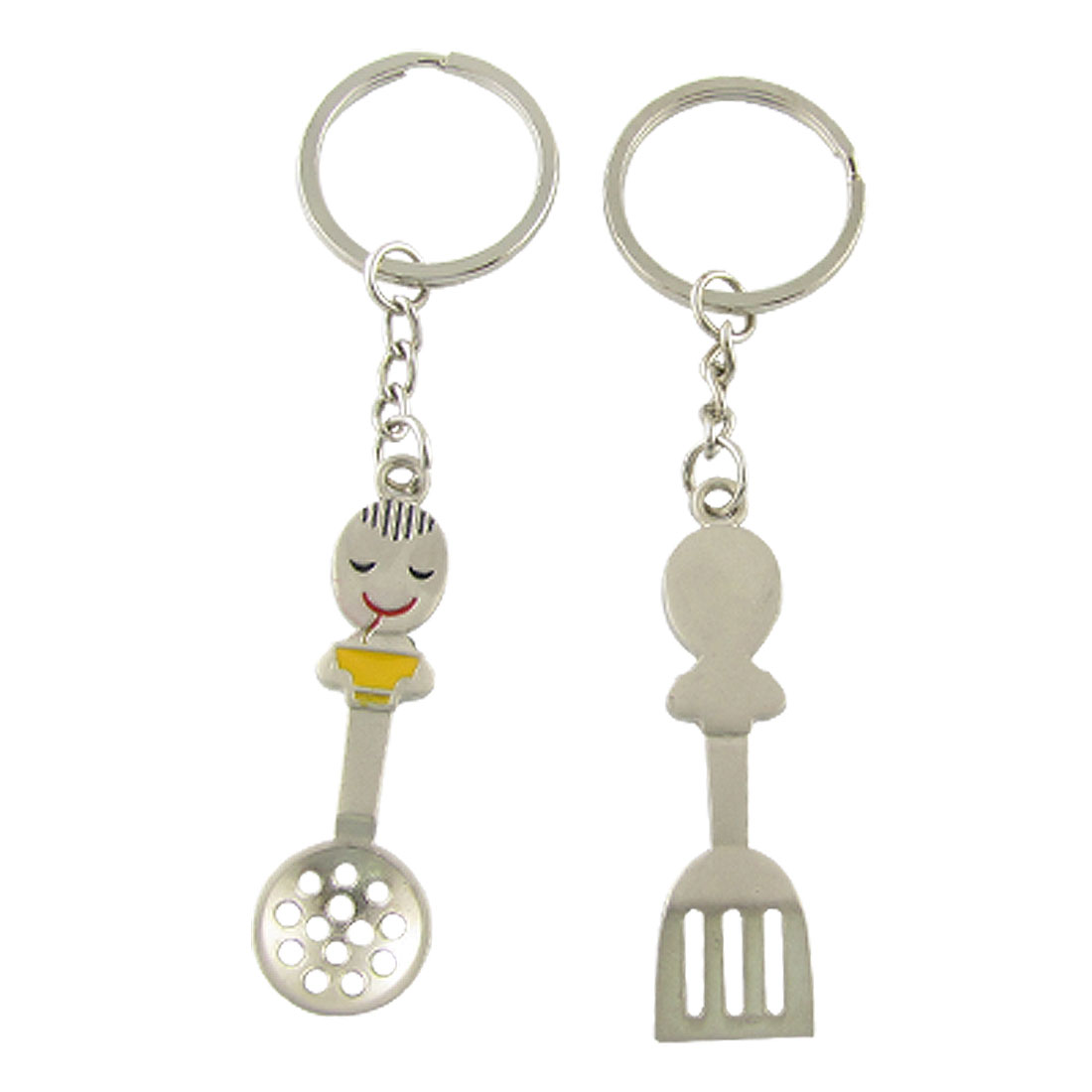 Pair Girl Boy Design Silver Tone Key Chain Keyring for Couple