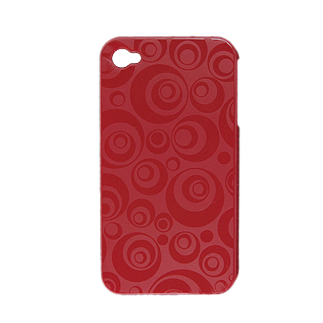 Hard Plastic Circle Pattern Red Back Case Protector for iPhone 4 4G
