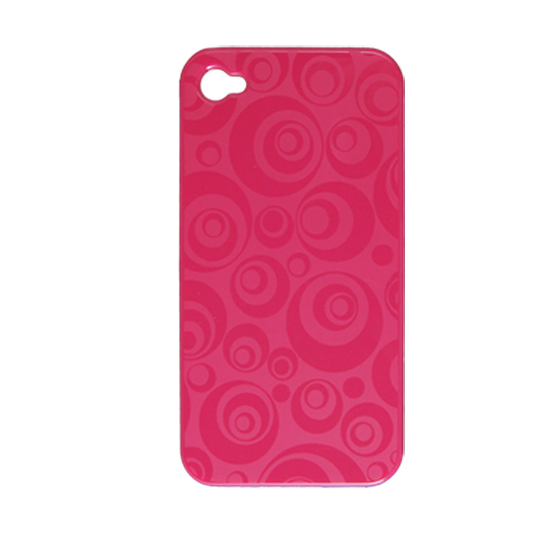 Hot Pink Circle Print Hard Plastic Protective Back Cover for iPhone 4