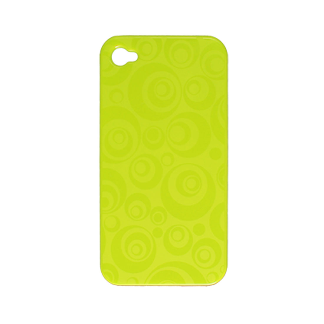 Yellow Green Circle Pattern Hard Plastic Protective Back Case for iPhone 4 4G