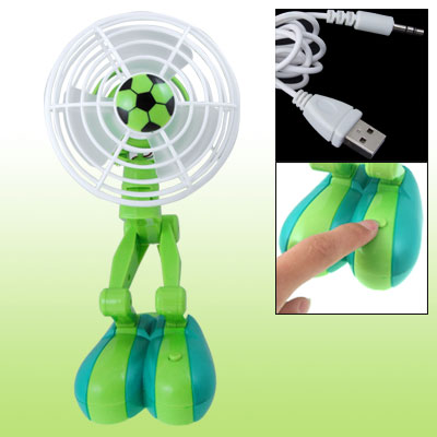 USB Power White Green Football Decor Rotational Cooling Fan