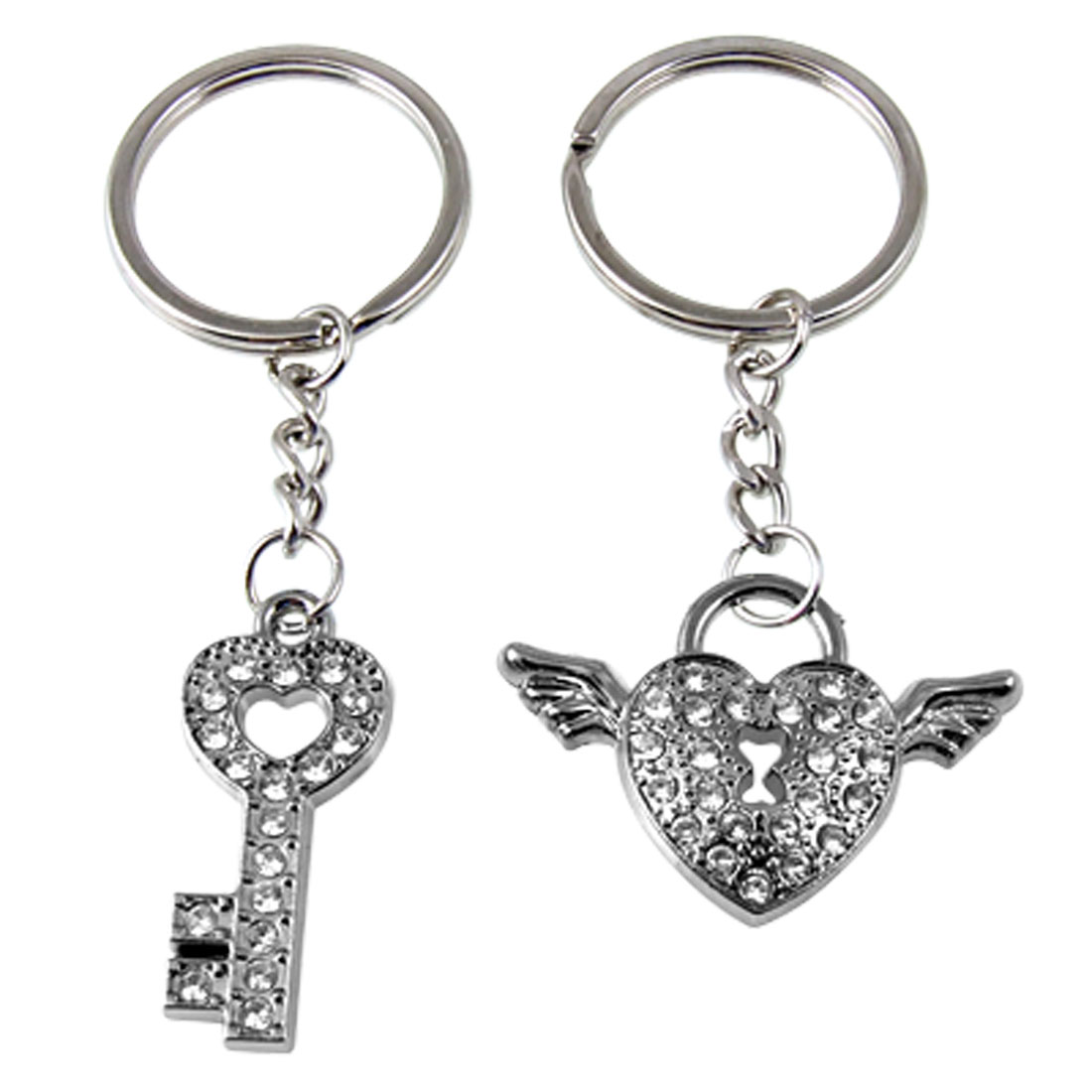 1 Pair Rhinestone Decor Key w Heart Wing Design Keychain Ring