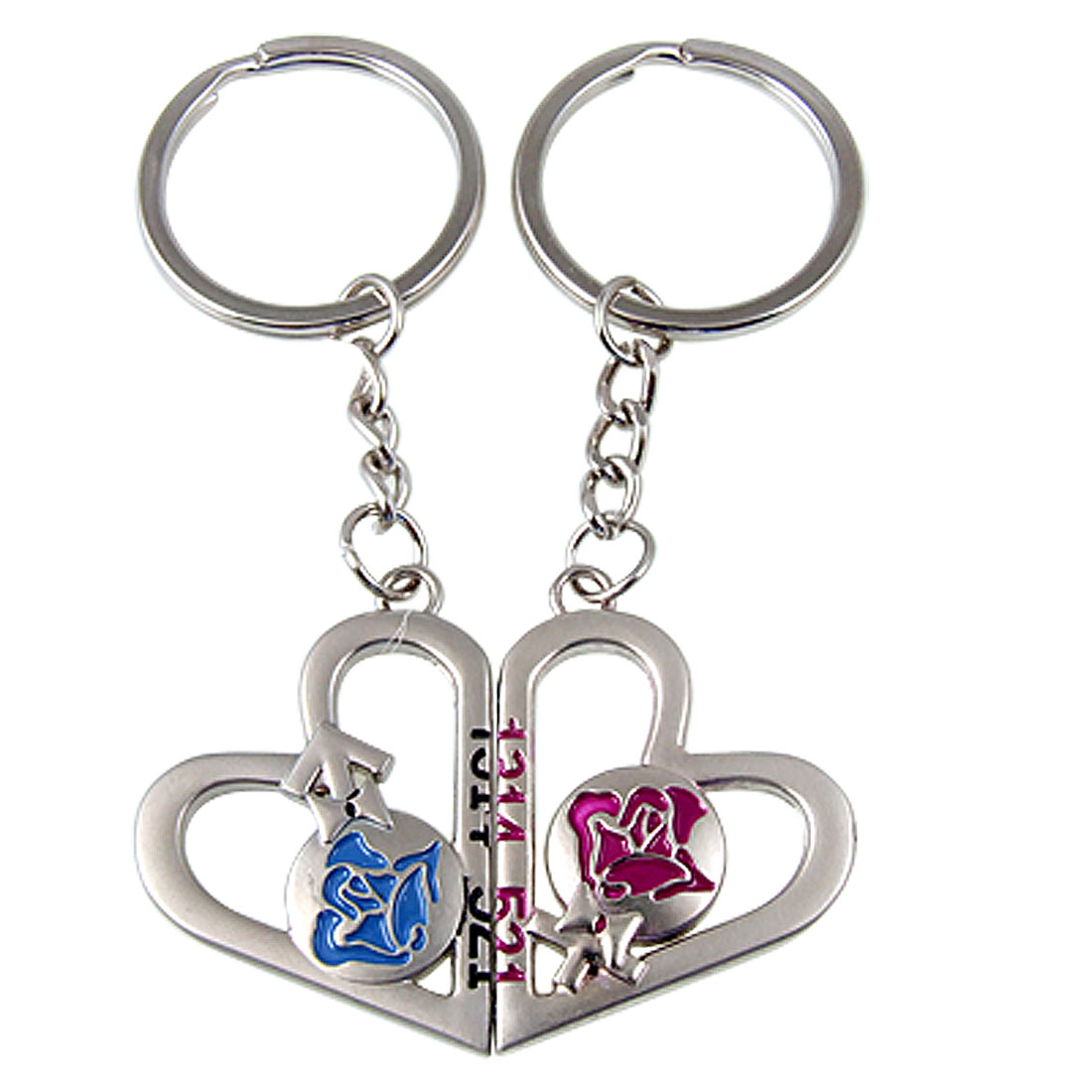 Lovers 1 Pair Magnetic Double Heart Pendant Design Metal Keyring Chain