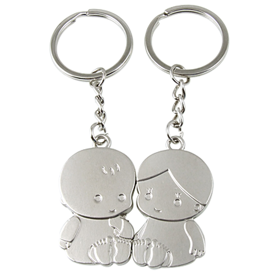 A Pair of Lovely Kids Pendant Silver Tone Alloy Keyring