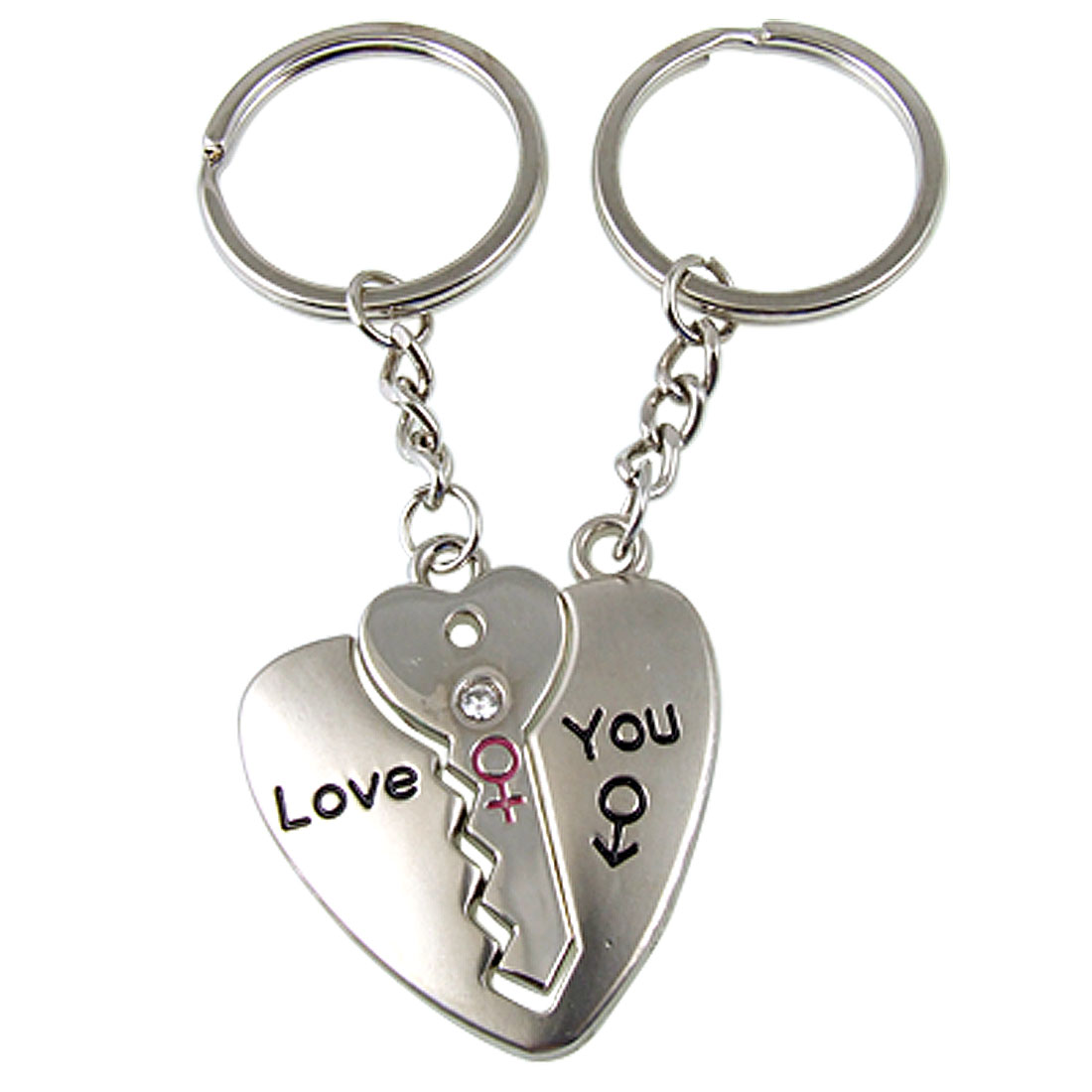 Words Pattern Key w Heart Set Shape Pendant Key Ring Chain