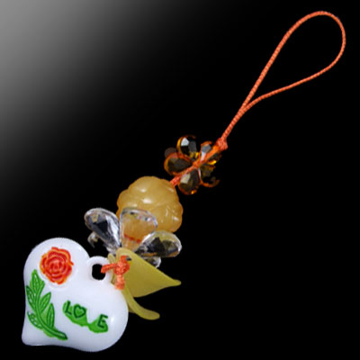 Plastic Love Heart Shape Phone Hanging Strap Pendant