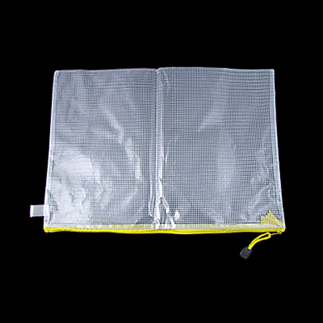 Office Plastic Net Zipper Closure Bag B4 File Holder Invoice Storage Clear White Yellow