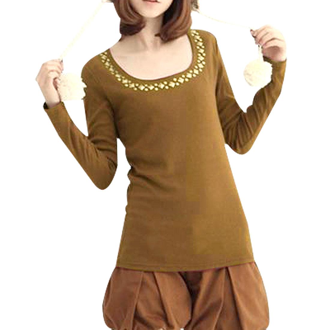 Ladies Yellow Brown Cotton Long Sleeve Round Neck Shirt Size XS