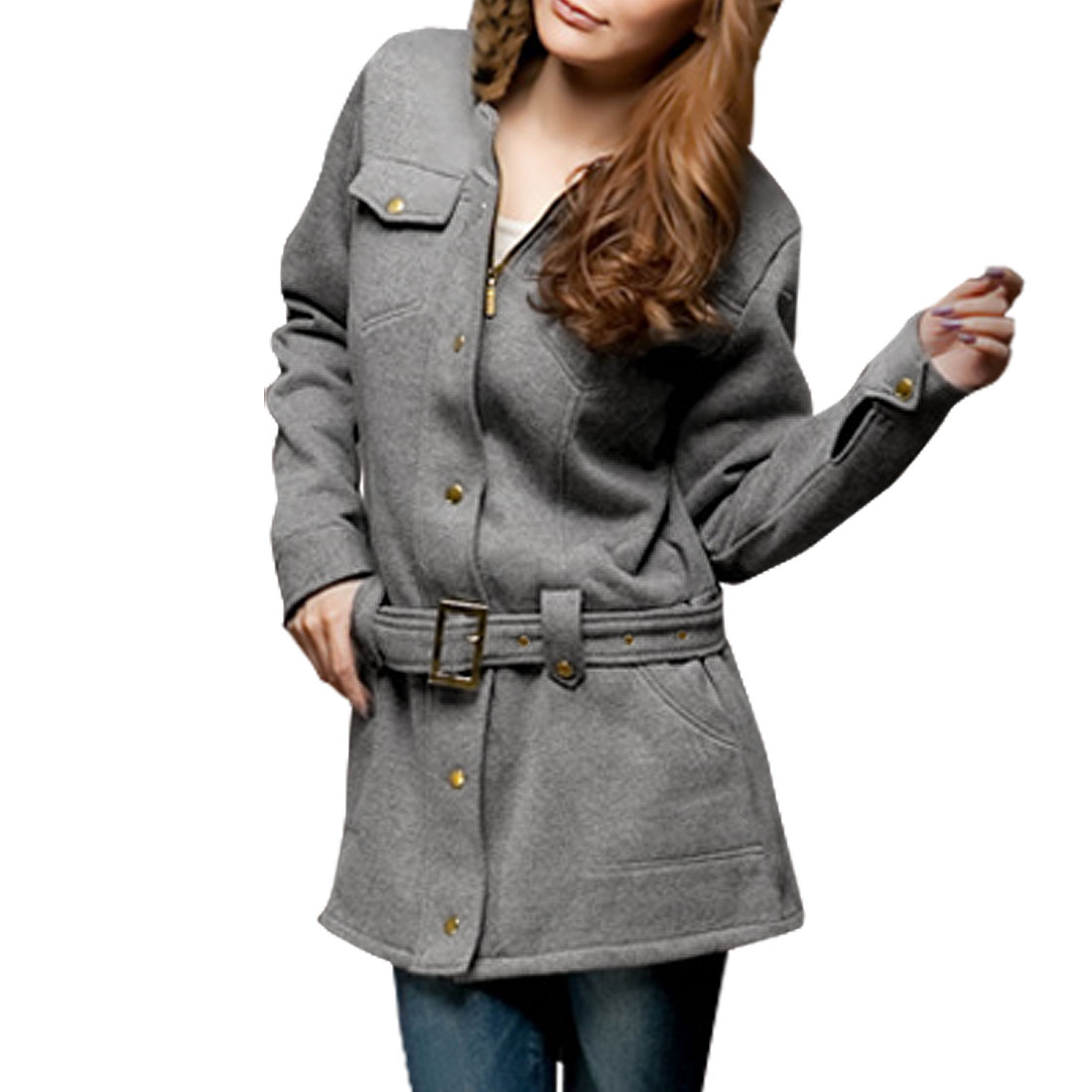 Ladies Gray Zipper Front Hoodie Coat Belted Worsted Jacket XS
