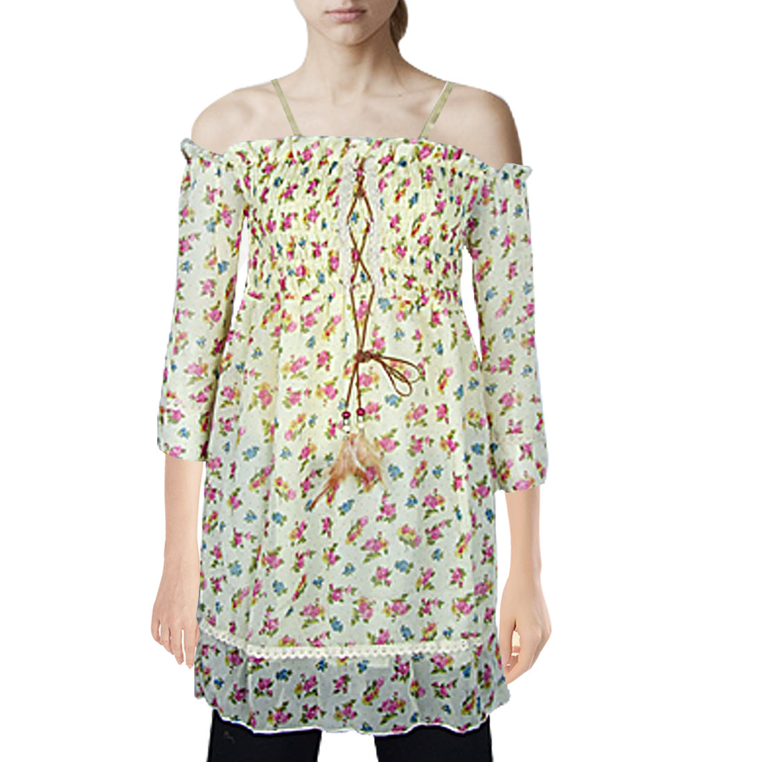 Lady Size XS Floral Print Chiffon Off Shoulder 3/4 Sleeves Mini Dress