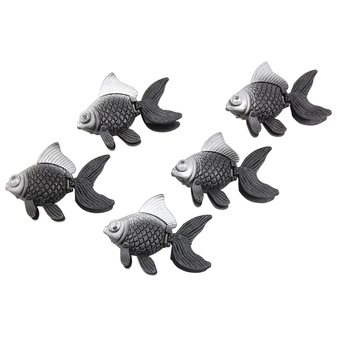 5pcs Mini Gray Silver Tone Plastic Floating Fish Aquarium Decor