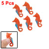 Orange Blue Aquarium Plastic Sea Horse Ornament 5pcs