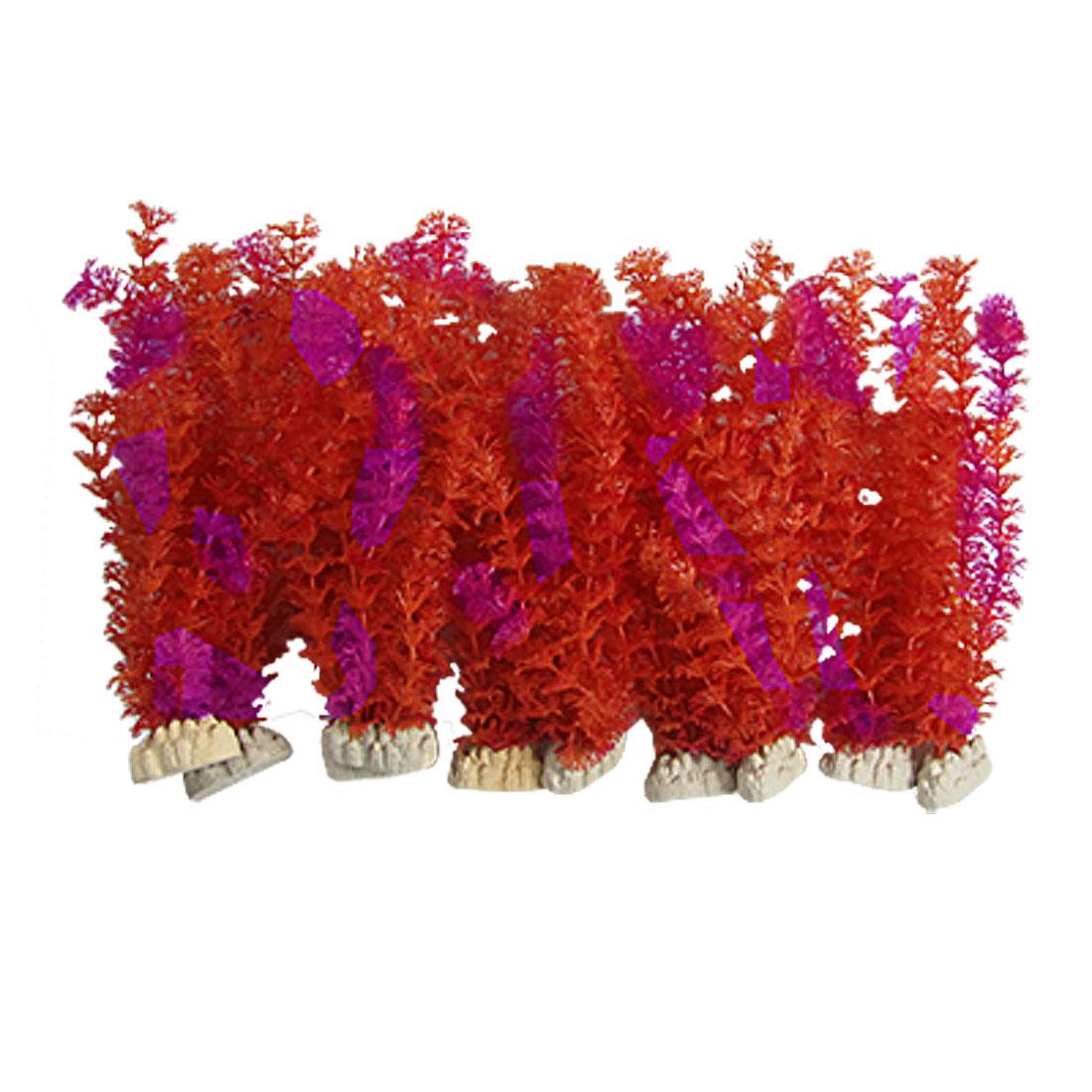 "10PCS 11"" Long Magenta Red Plastic Grass Decor with Base for Aquarium"