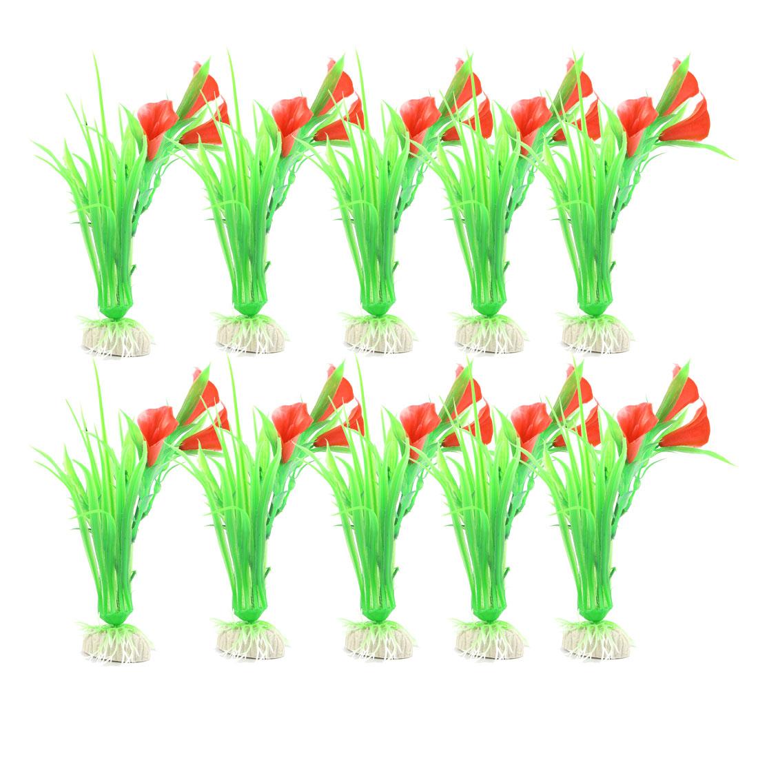 10Pcs Aquarium Flower Grass Ornament Plastic Fish Tank Plants