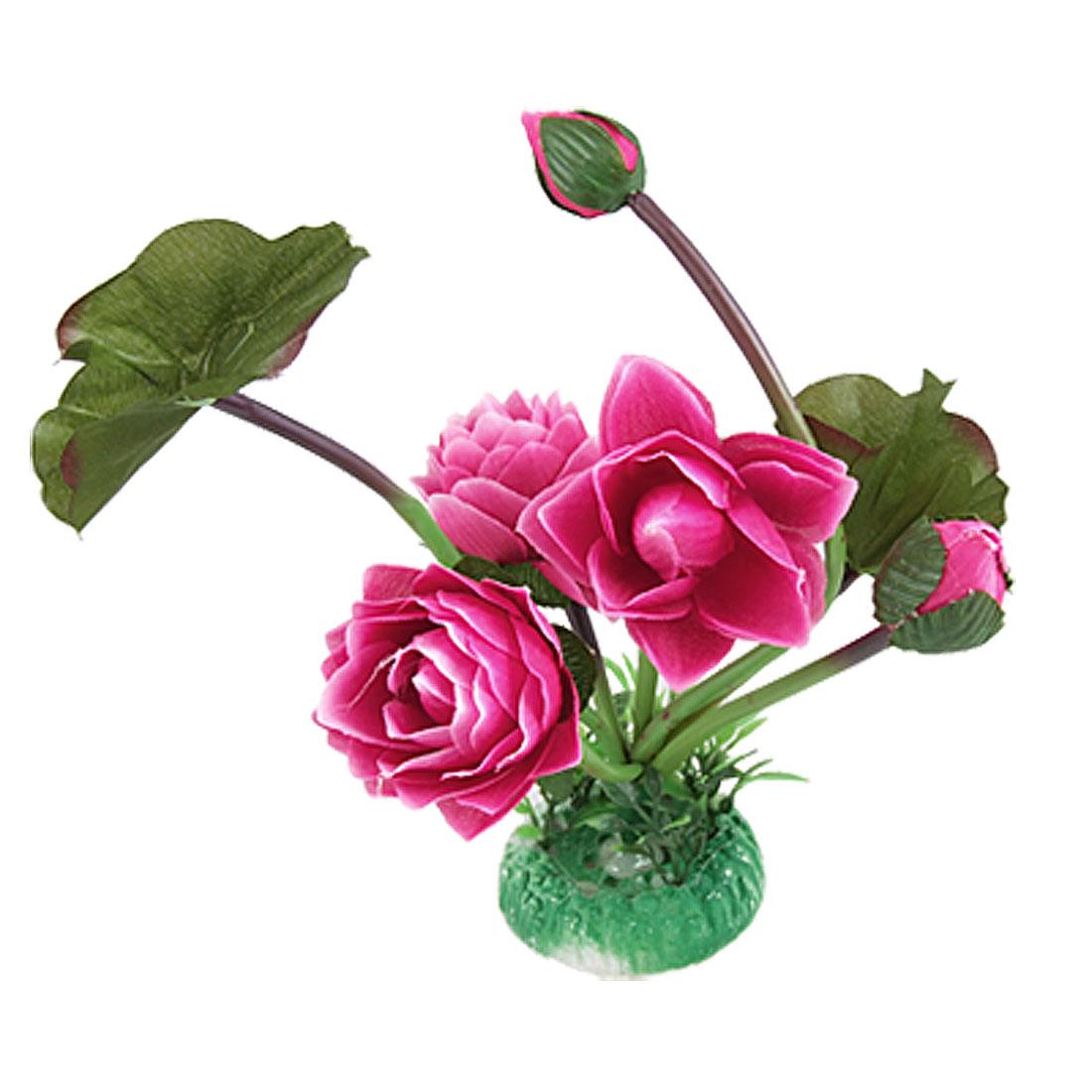 Hot Pink Lotus w Green Leaf Decor for Fish Tank Aquarium