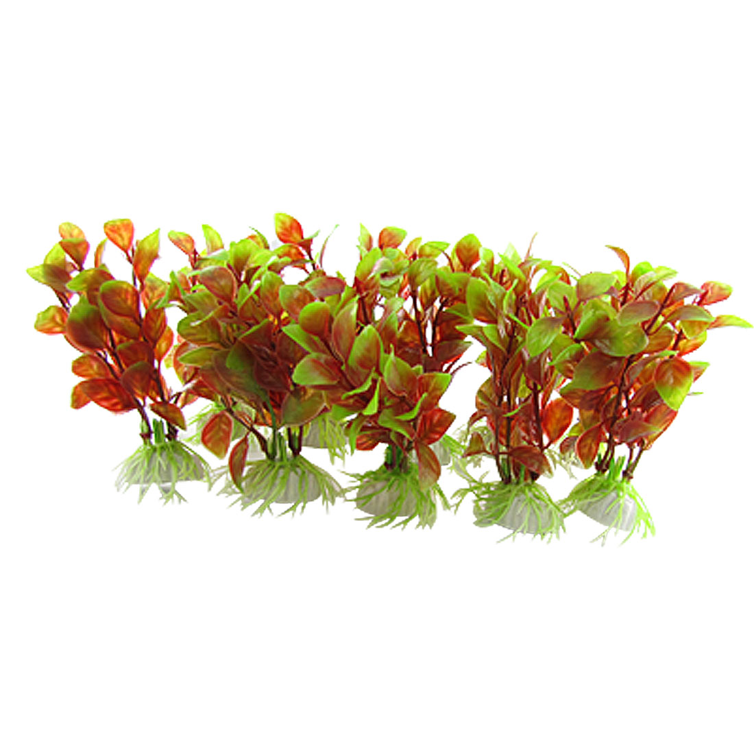 "4"" Mini Crimson Green Vivid Plastic Decor Plant with Base for Aquarium"