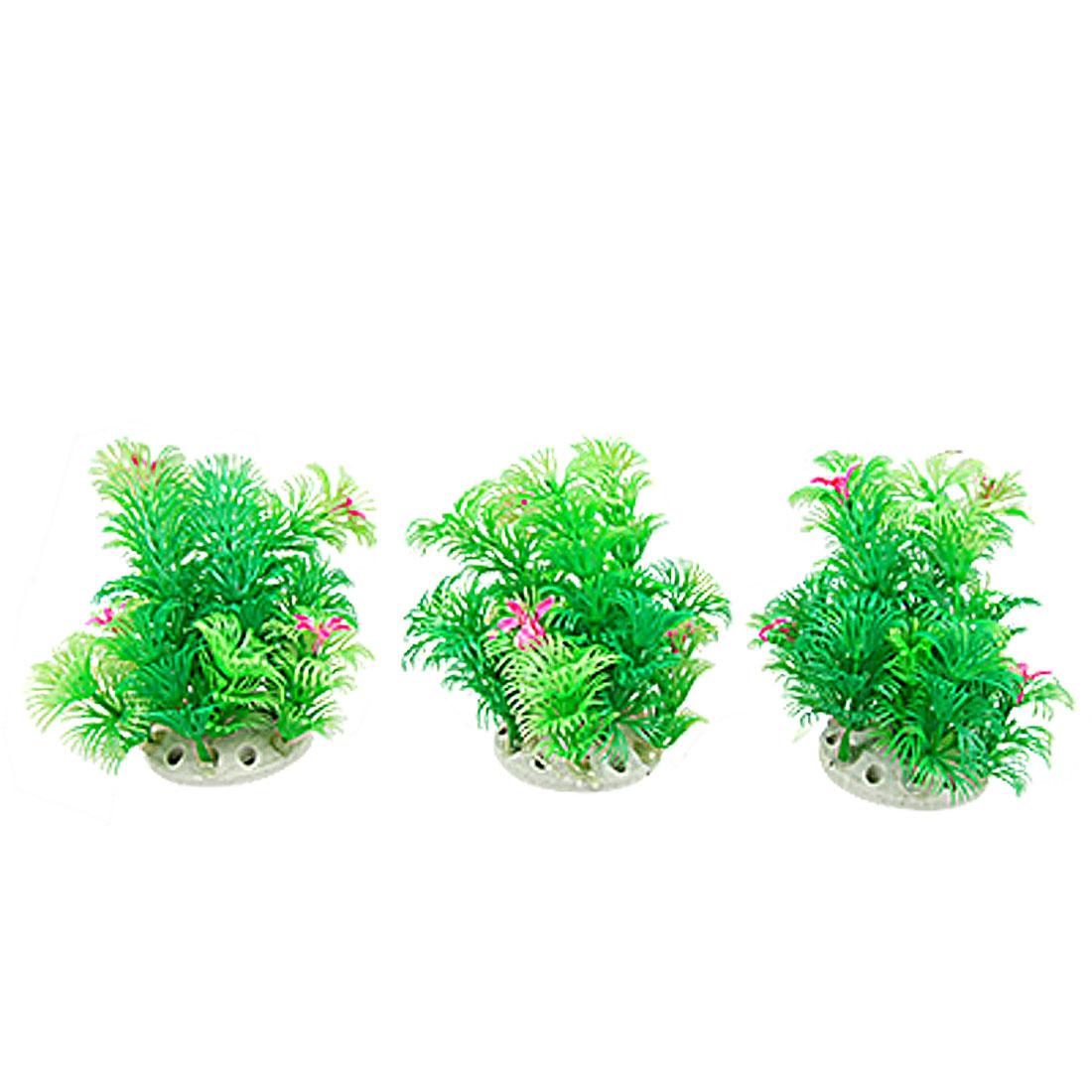 3 Pieces Plastic Short Grass w Flowers Aquarium Ornament