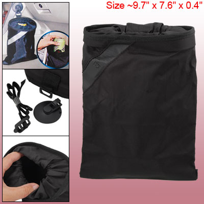 Black Nylon Trash Garbage Bag Organizer for Car