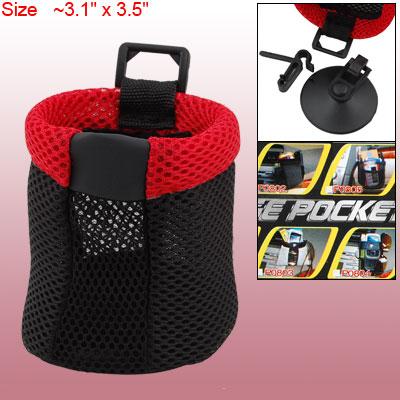 Black Red Mesh Terylene Cloth Bag Pocket for Car