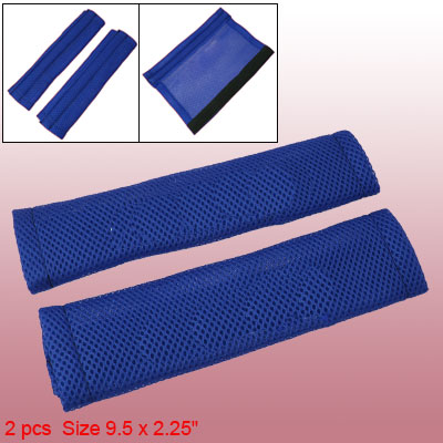 Blue Seatbelt Shoulder Pads Cover 2pcs Mesh Design