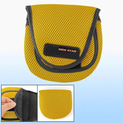 Yellow Black Hook and Loop Fastener Closure Fish Fishing Reel Bag Case Size Large