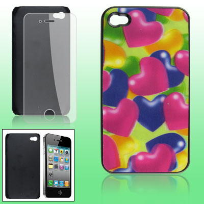 Screen Guard + 3D Style Heart Print Hard Back Case for iPhone 4 4G
