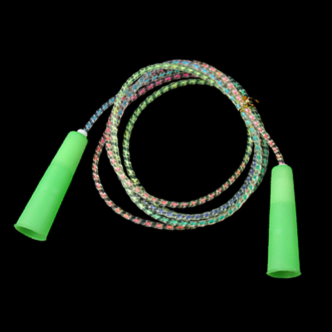 Children Soft Plastic Jumping Skipping Rope w Light Green Handles