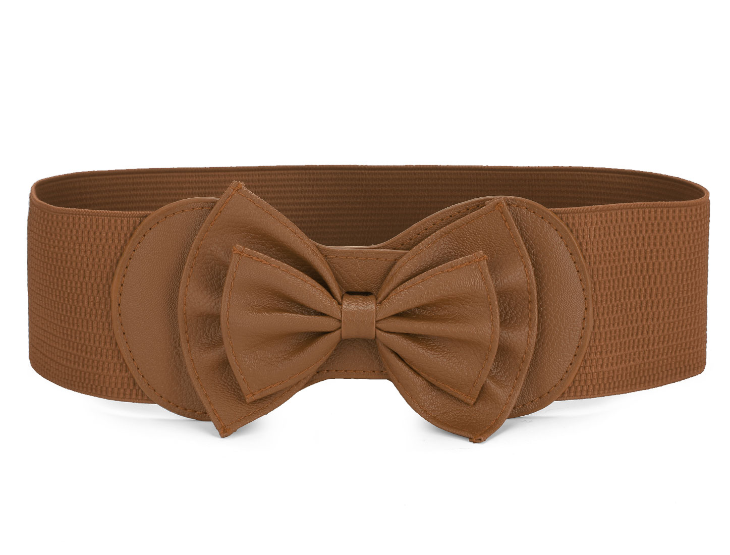Elastic Coffee Butterfly Knot Hook Buckle Ladies Waist Belt