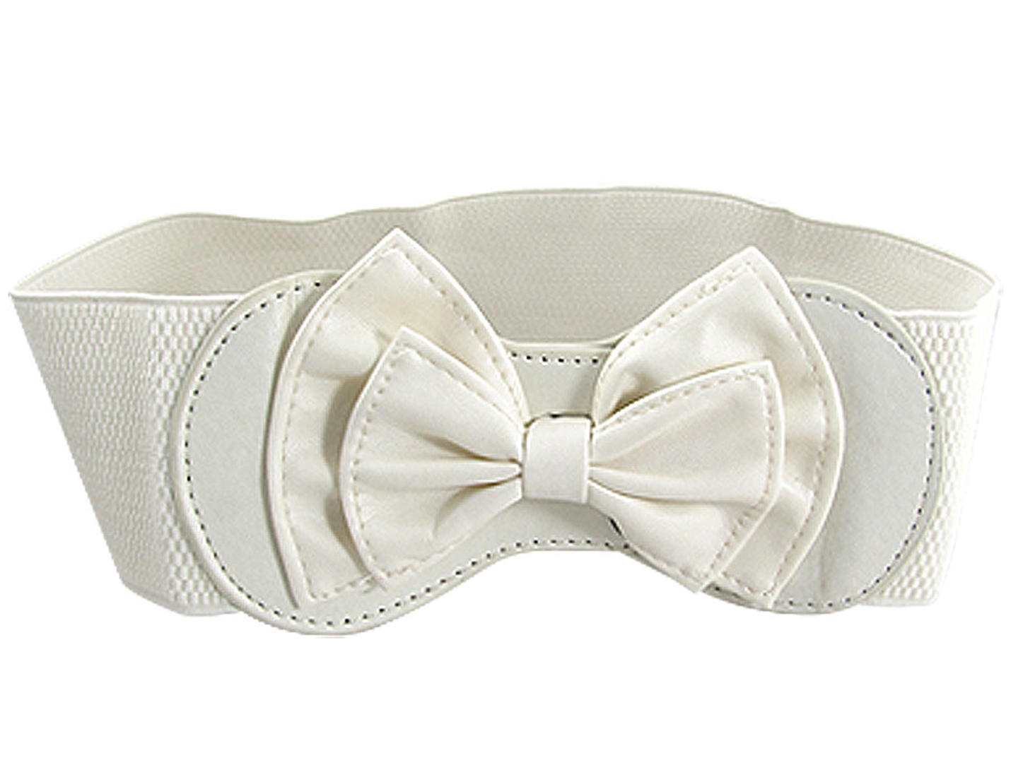 Ladies Off White Faux Leather Bowknot Buckle Elastic Fabric Waist Belt