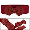 Red Bowknot Hook Buckle Elastic Band Ladies Dress Waist Belt