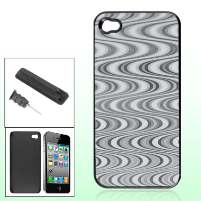 Wave Pattern Plastic Back Cover w Anti Dust Protector for iPhone 4