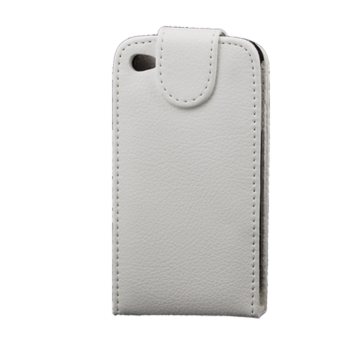 Magnetic Flip Flap Closure White Faux Leather Pouch Case for iPhone 4 4G