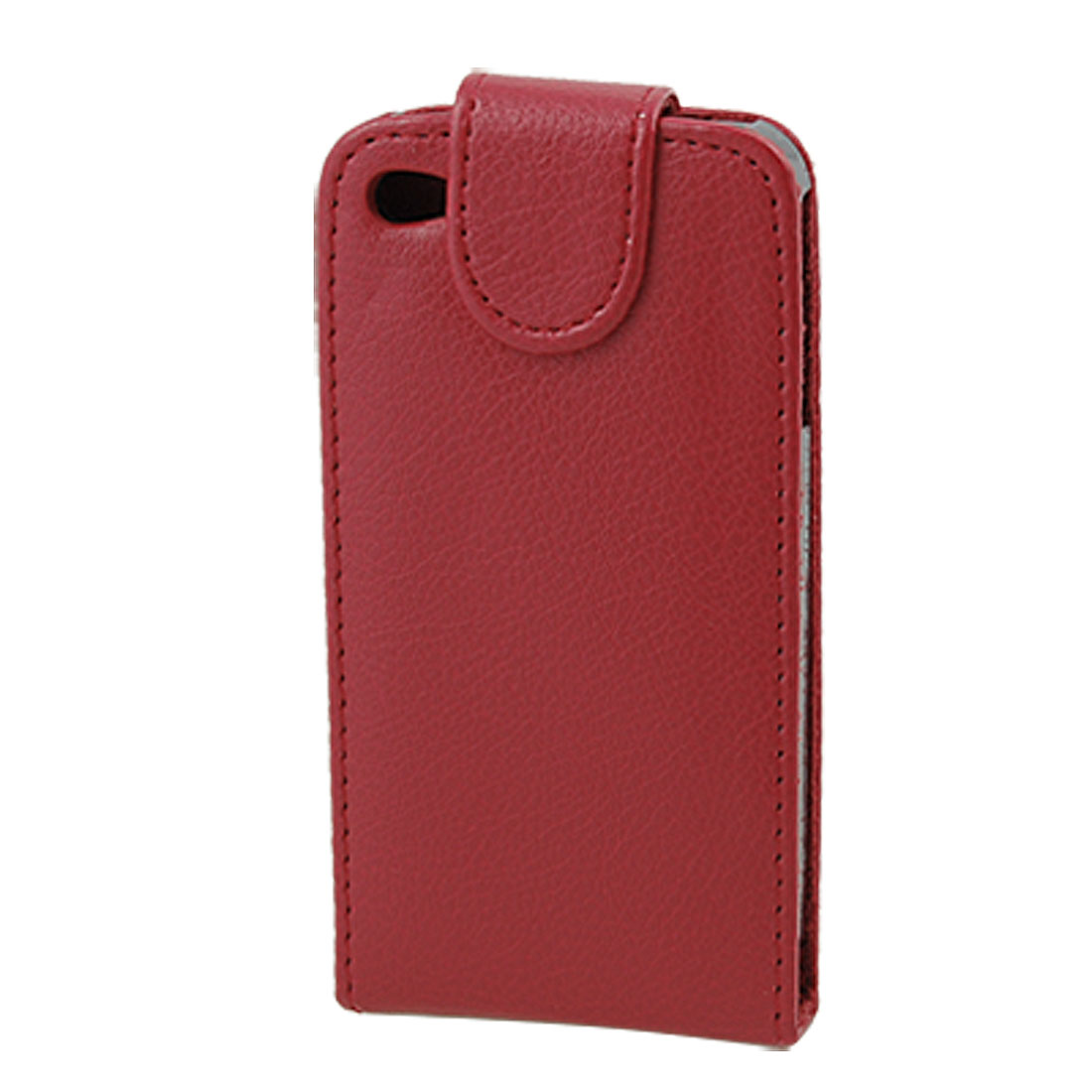 Red Faux Leather Vertical Magnetic Flip Flap Pouch Case for iPhone 4 4G