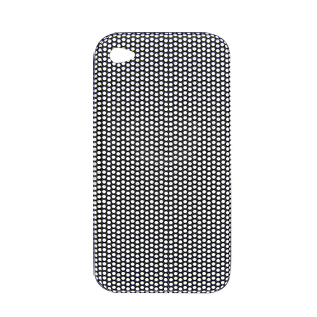 Hard Plastic White Dot Pattern Black Back Cover for iPhone4