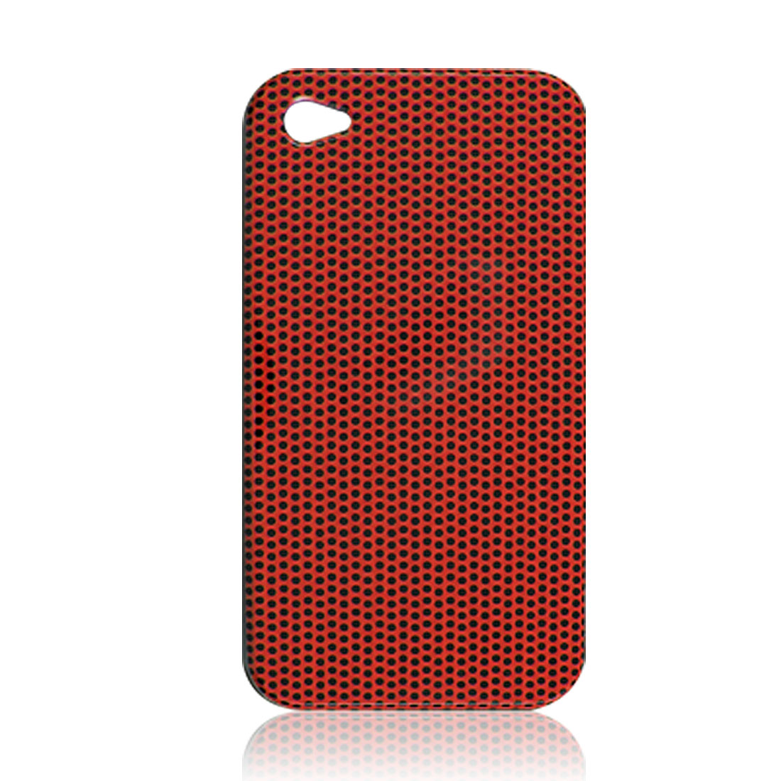 Orange Plastic Black Dot Pattern Back Case for iPhone 4 4G