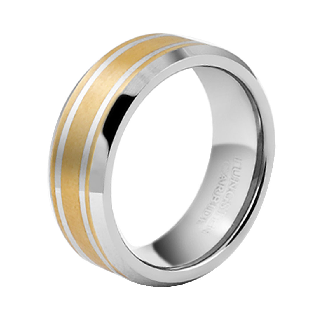 Tungsten Carbide Two Tone Unisex Finger Ring Us Size 8