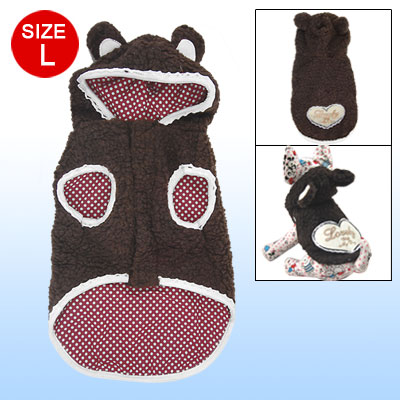 Brown Heart Pattern Hooded Sleeveless Coat Clothes for Dog Size L
