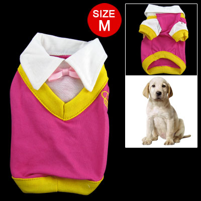 White Stand Collar Fuchsia Cotton Shirt for M Dog Pet