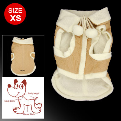 Size XS Beige White Zipper Hook and Loop Fastener Closure Winter Coat for Puppy
