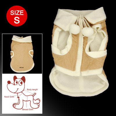Size S Beige White Zippered Fuzzy Ball Decorated Winter Coat for Puppy