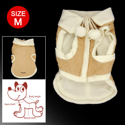 Dog Beige White Zippered Hook and Loop Fastener Closure Winter Coat Size M