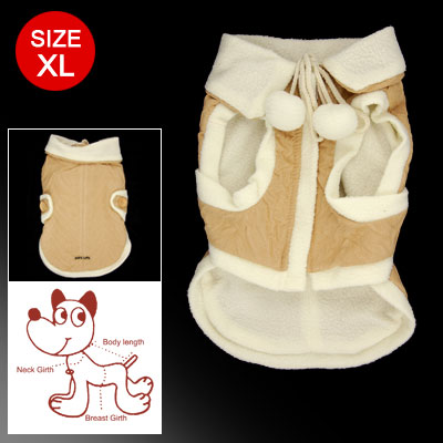Size XL Beige White Hook and Loop Fastener Closure Zippered Cotton Coat for Dog