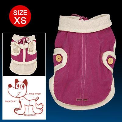 Amaranth White Hook and Loop Fastener Closure Zippered Puppy Winter Coat Size XS