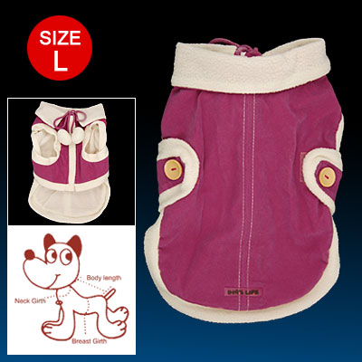 Size L Amaranth White Hook and Loop Fastener Closure Zipper Cotton Coat for Dog