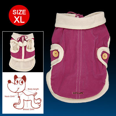 Size XL Amaranth Fuzzy Ball Decorated Zippered Cotton Coat for Dog
