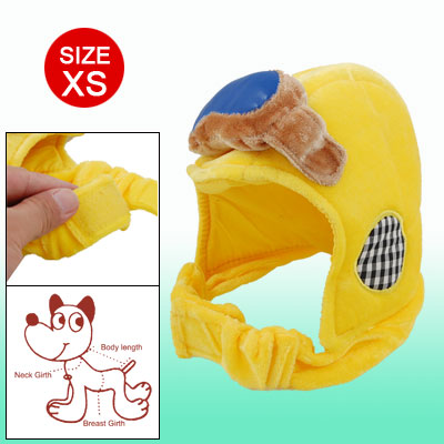 X004-02 Hook and Loop Fastener Fasten Yellow Velvet Sponge Size S Hat for Dog