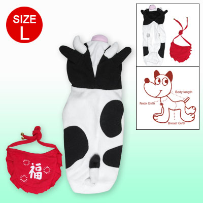 Cartoon Cow Design Black White Pet Dog Apparel Hoodie Size L