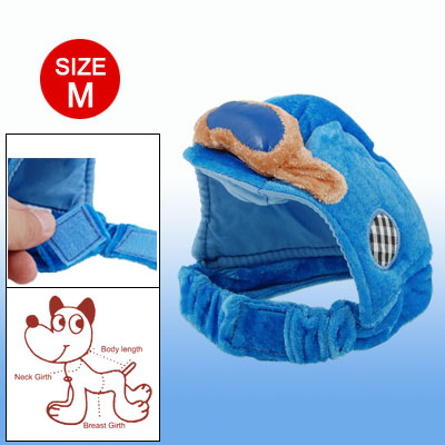 X004-02 Hook and Loop Fastener Fasten Blue Velvet Sponge Size L Hat for Dog